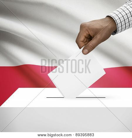 Ballot Box With National Flag On Background - Poland