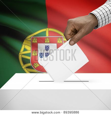 Ballot Box With National Flag On Background - Portugal