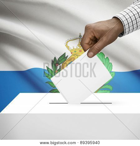 Ballot Box With National Flag On Background - San Marino