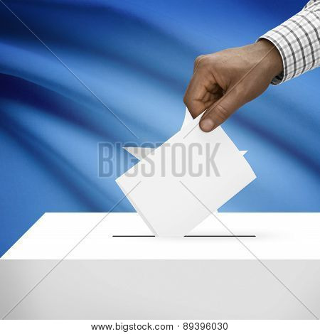 Ballot Box With National Flag On Background - Federal Republic Of Somalia