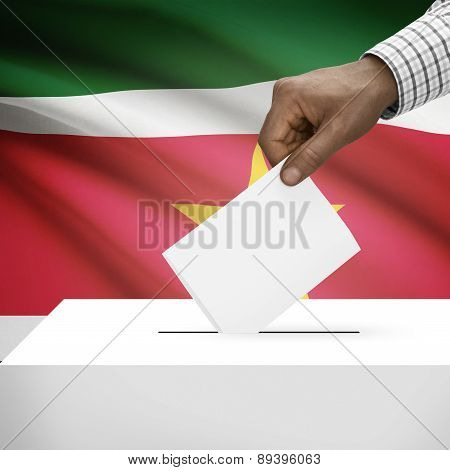 Ballot Box With National Flag On Background - Republic Of Suriname
