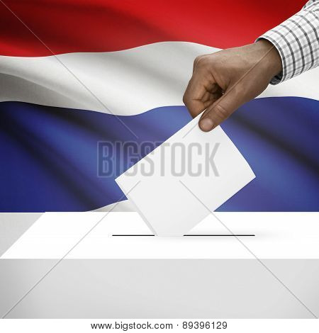Ballot Box With National Flag On Background - Thailand