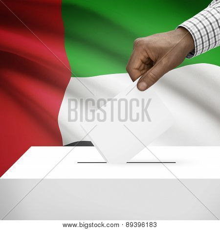 Ballot Box With National Flag On Background - United Arab Emirates