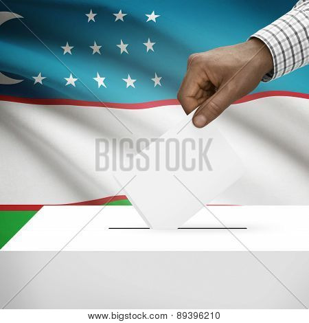 Ballot Box With National Flag On Background - Uzbekistan