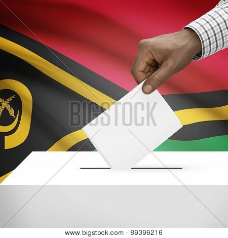 Ballot Box With National Flag On Background - Vanuatu
