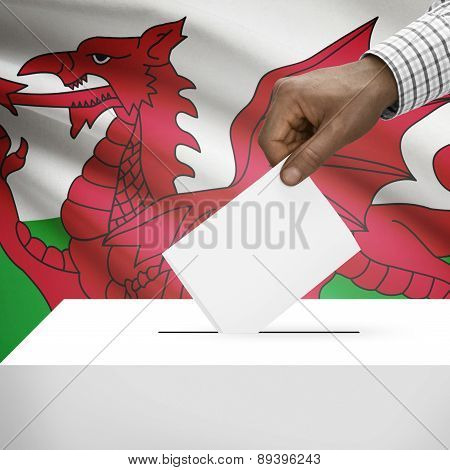 Ballot Box With National Flag On Background - Wales