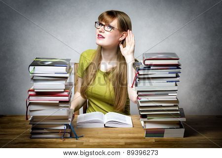 Listening Female Student With Books