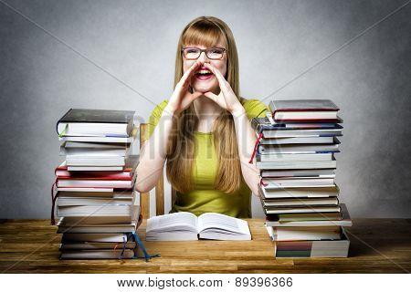 Happy Schoolgirl Woman With Books