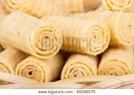 Heap Of Wafer Rolls Close Up In Basket