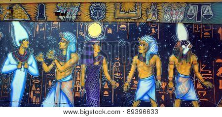 Mural of egyptian gods