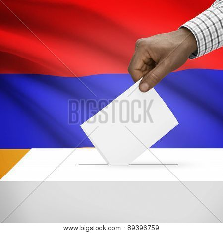 Ballot Box With National Flag On Background - Armenia