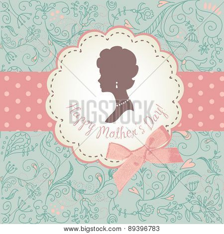 Mother's day card. Cute vintage frames with ladies silhouette