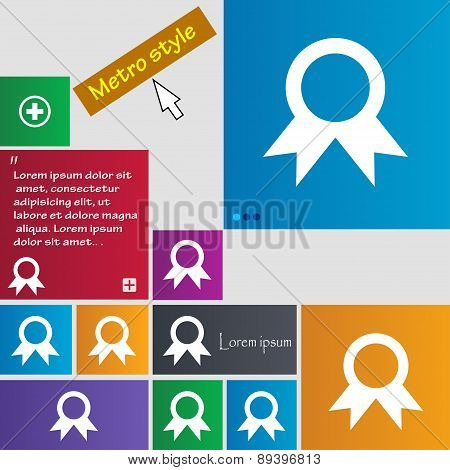 Award, Prize For Winner Icon Sign. Metro Style Buttons. Modern Interface Website Buttons With Cursor