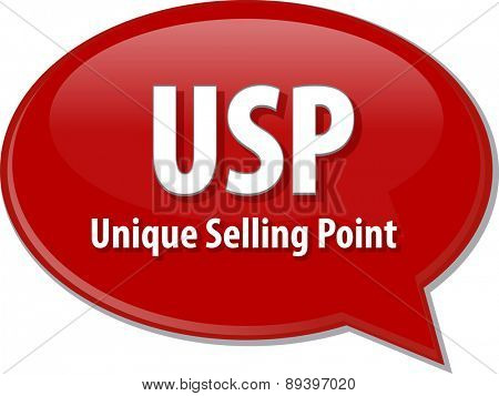 word speech bubble illustration of business acronym term USP Unique Selling Point vector