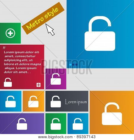 Open Padlock Icon Sign. Metro Style Buttons. Modern Interface Website Buttons With Cursor Pointer. V