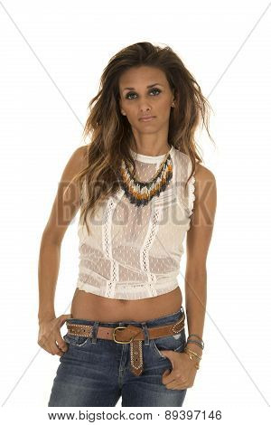 Cowgirl In White Lace Top Stand Serious