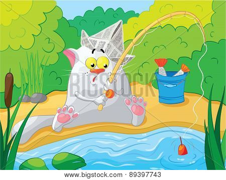 Cat fishing on the river. Vector illustration.