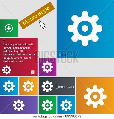 Cog Settings, Cogwheel Gear Mechanism Icon Sign. Metro Style Buttons. Modern Interface Website Butto