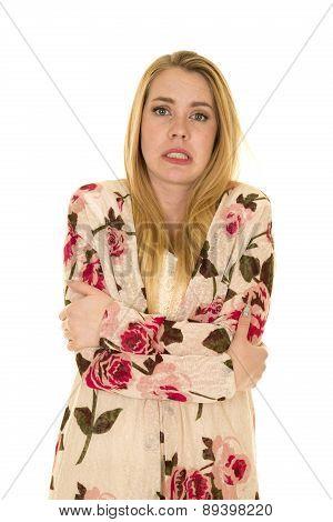Woman Flower Shirt Long Hair Cold