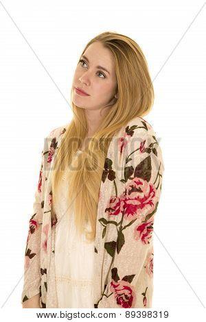Woman Flower Shirt Long Hair Look Up Side