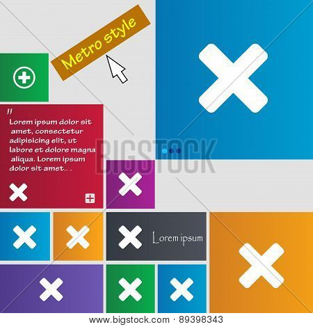 Cancel, Multiplication Icon Sign. Metro Style Buttons. Modern Interface Website Buttons With Cursor
