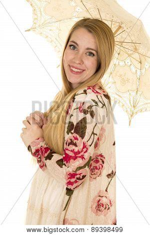 Woman Flower Shirt Pink Shoes Umbrella Close Look
