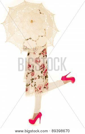 Woman Flower Shirt Umbrella Heel Up