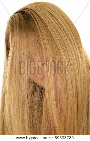 Woman Hair Over Face Close