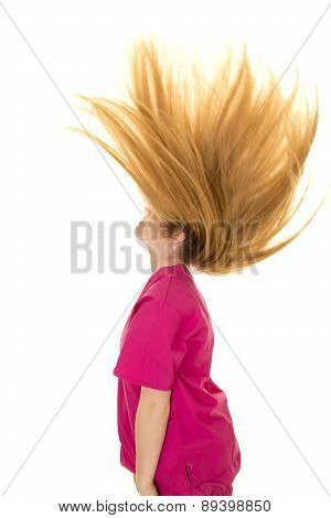 Woman Pink Scrubs Hair Flipped Up Side