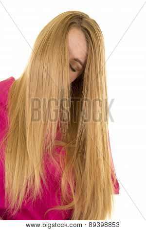Woman Pink Scrubs Hair Over Face Eyes Closed