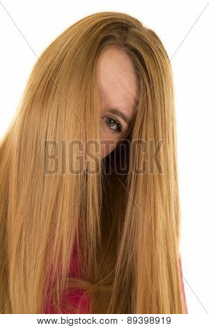 Woman Pink Scrubs Hair Over Face One Eye Showing
