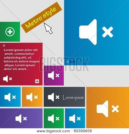 Mute Speaker , Sound Icon Sign. Metro Style Buttons. Modern Interface Website Buttons With Cursor Po