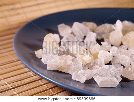 White rock sugar on the plate
