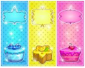 picture of fancy cakes  - Fancy vertical cards with cakes vector banners - JPG