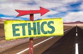 stock photo of ethics  - Ethics sign with road background - JPG
