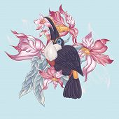 foto of toucan  - Floral Vector Vintage Card with Exotic Flowers and Toucan - JPG