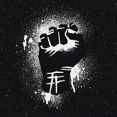 pic of street-art  - Black protestee logo - JPG