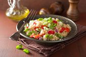 image of chive  - healthy couscous salad with tomato cucumber onion chives - JPG