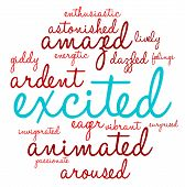foto of aroused  - Excited word cloud on a white background - JPG