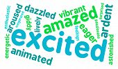 foto of arousal  - Excited word cloud on a white background - JPG