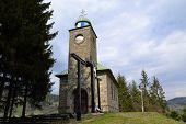 foto of calvary  - church with Calvary on a hill on the outskirts of pilgrims bringing peace and well - JPG