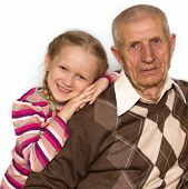 picture of granddaughter  - portrait of a granddaughter and grandfather close - JPG