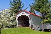 picture of covered bridge  - The Longwood Covered Bridge now located in Connersville Indiana was built in 1884 over Williams Creek by Kennedy Brothers - JPG