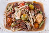 foto of green papaya salad  - Somtum papaya salad delicious food in thailand - JPG