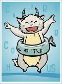 pic of capricorn  - zodiac sign baby birth capricorn vector illustration - JPG