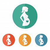 image of belly-button  - Pregnant woman sign icon vector - JPG