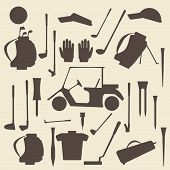 stock photo of ball cap  - Golf sport items silhouette icon set - JPG