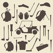 stock photo of designated driver  - Golf sport items silhouette icon set - JPG