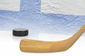 picture of hockey arena  - Stick puck and hockey field with the Finnish flag - JPG