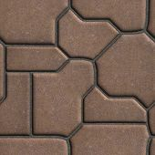 stock photo of paving  - Brown Paving Slabs of the Figures Various Shapes  - JPG